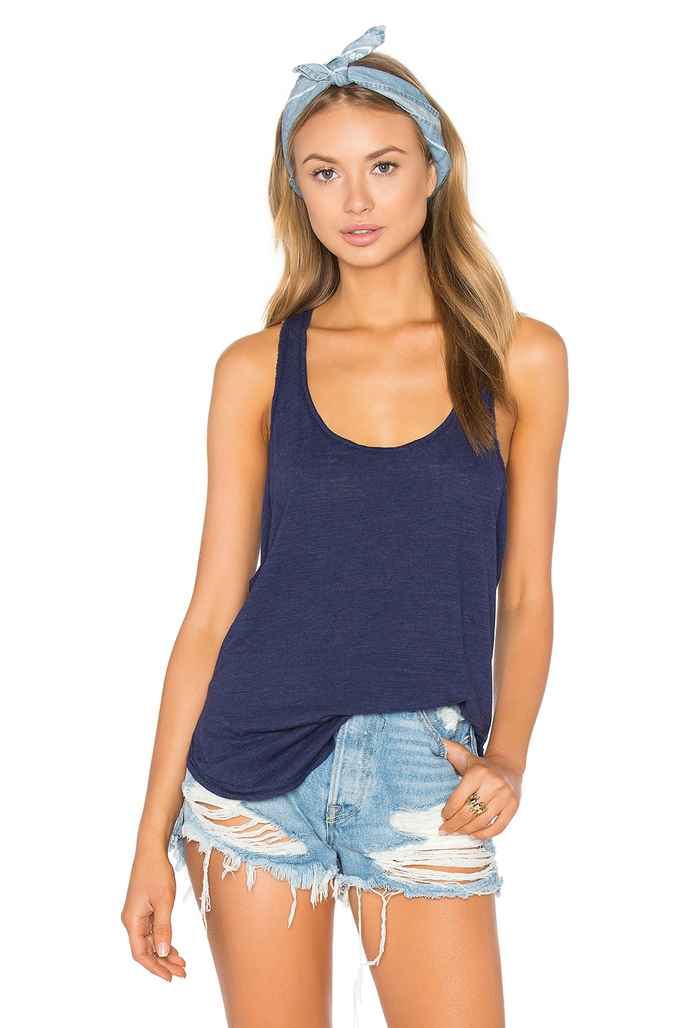 Cotton & Gauze Panel Tank by Heather