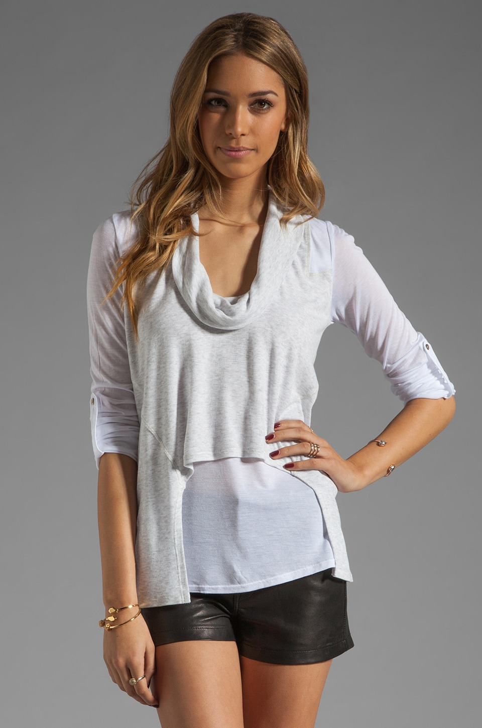 Heather Roll Sleeve Cowl Top in White