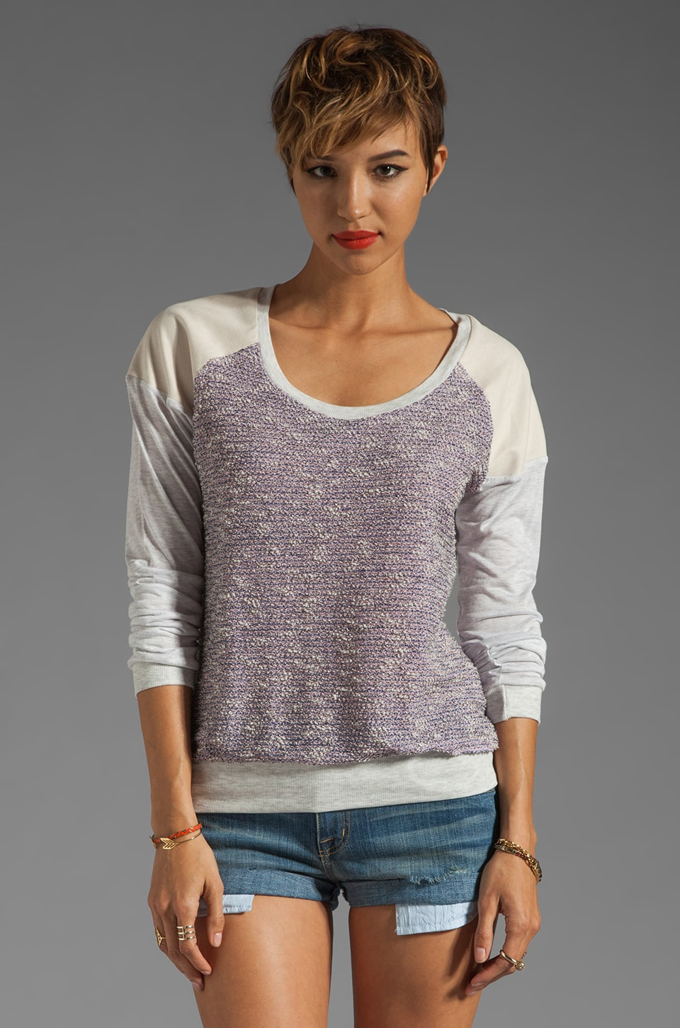 Heather Baseball Tee in Orchid