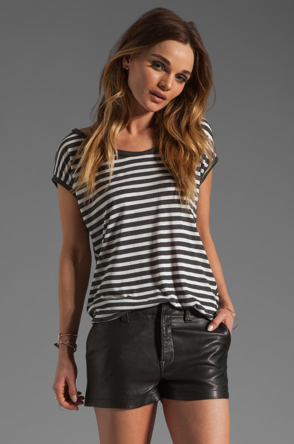 Heather Stripe Tee in Black/White