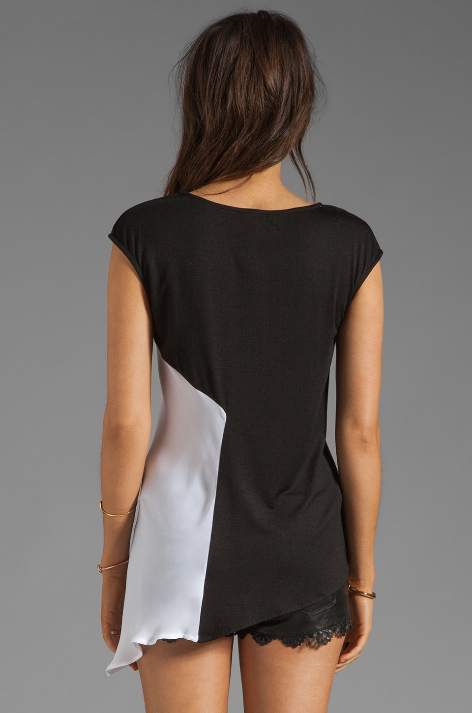 Heather Asymmetrical Tee in Black/White