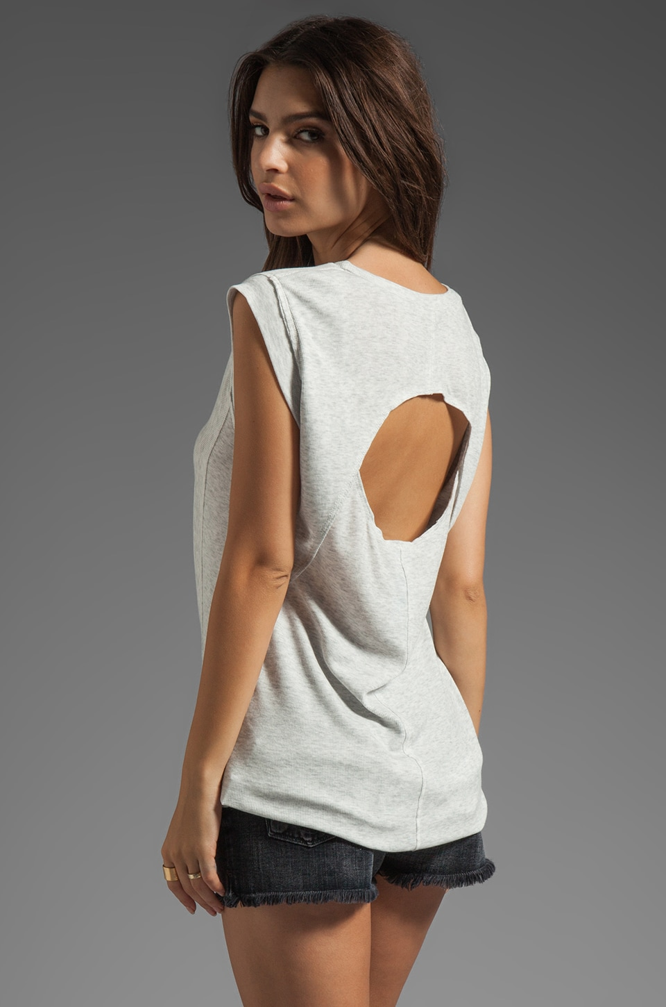 Heather Hi-Lo Open Back Tee in White