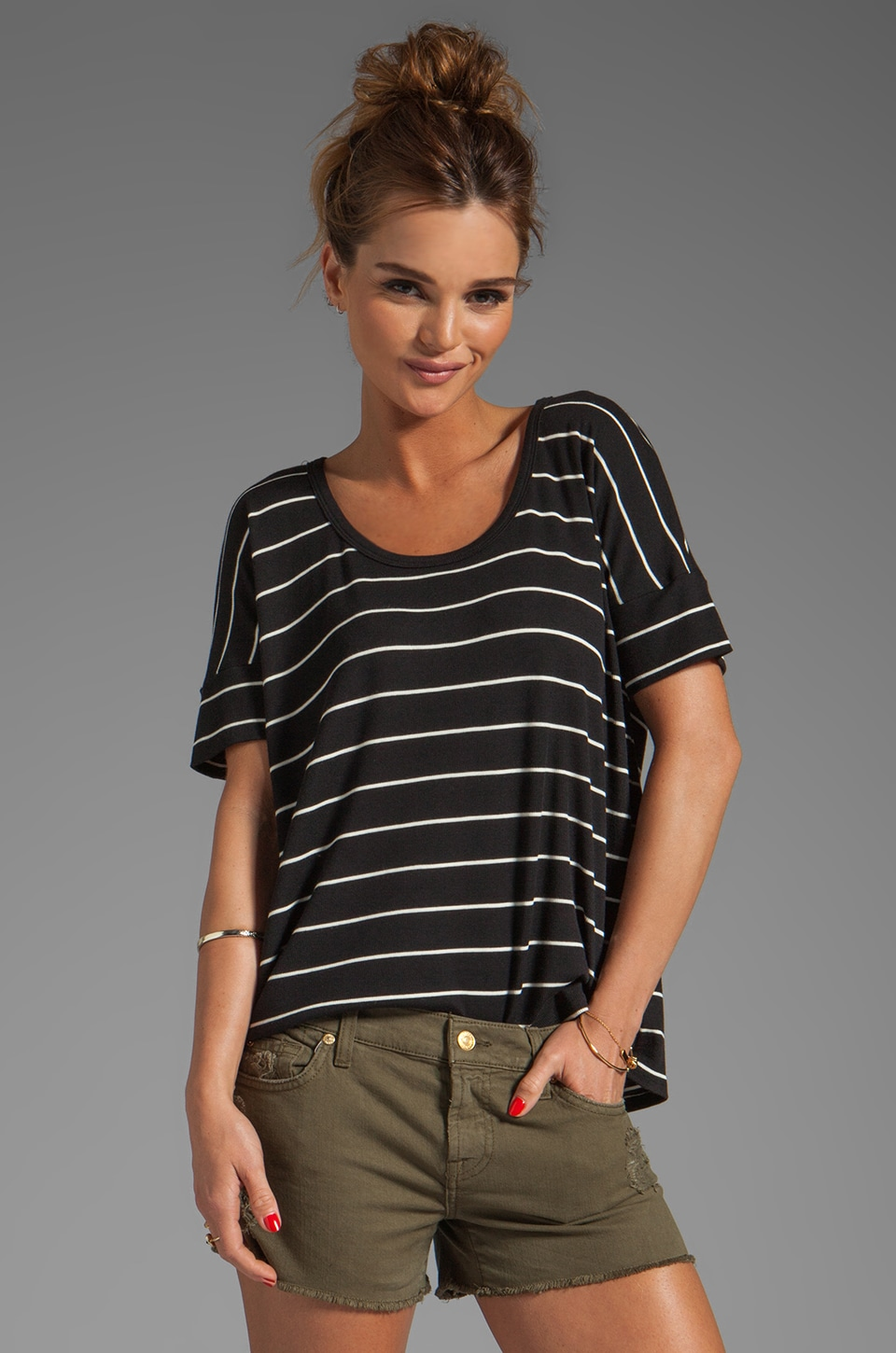 Heather Rib Stripe Cross Back Tee in Black/White