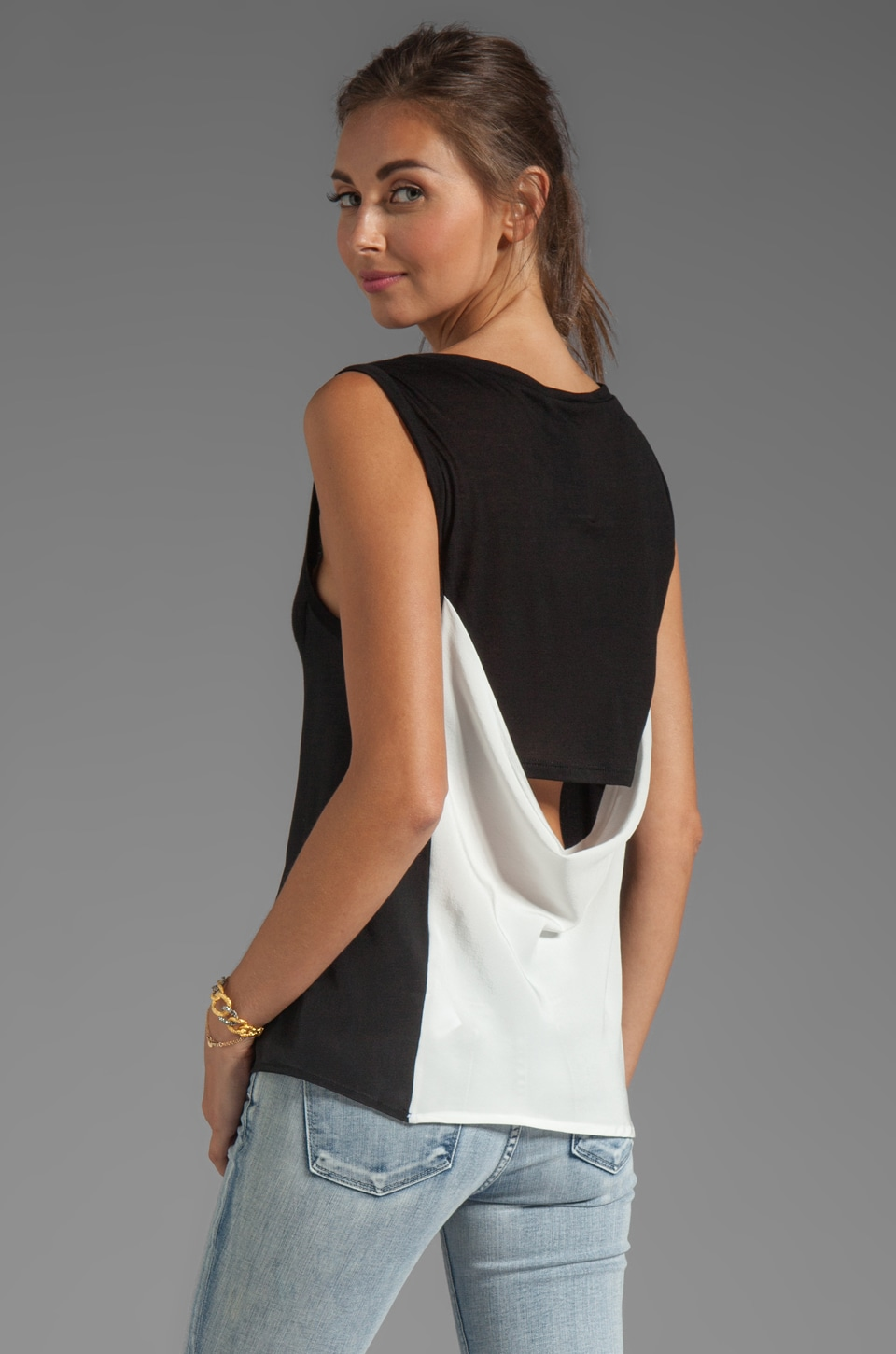 Heather Drape Back Tank in Black White