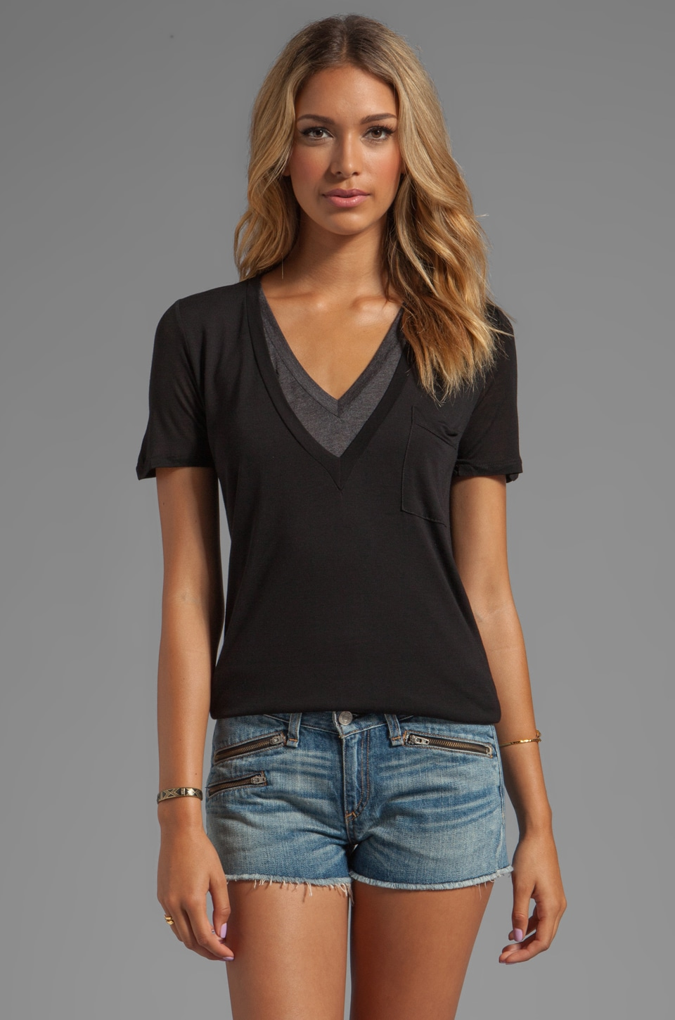 Heather Double V Colorblock Tee in Black/Heather Black