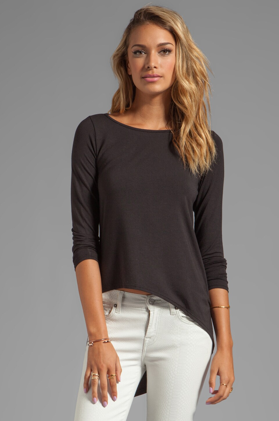 Heather Asymmetric Hi Low Tee in Black