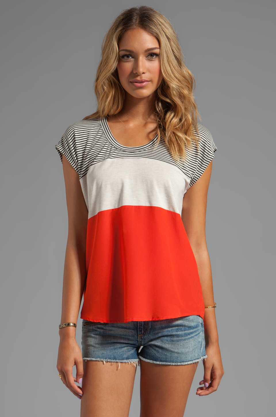 Heather Mini Colorblock Stripe Tee in Black