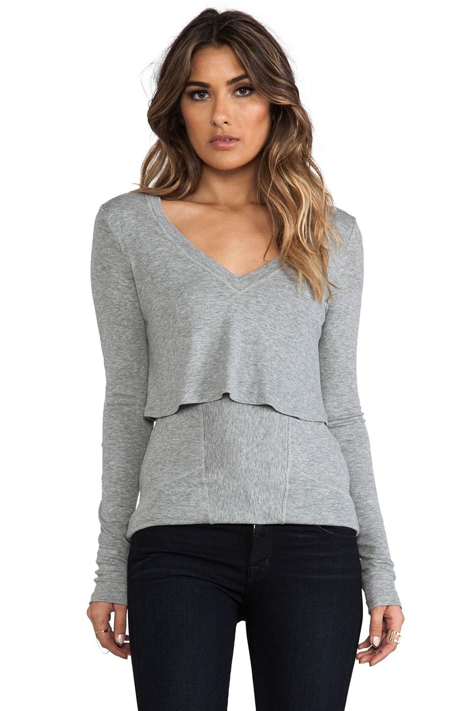 Heather Long Sleeve Double Tee in Light Heather Grey