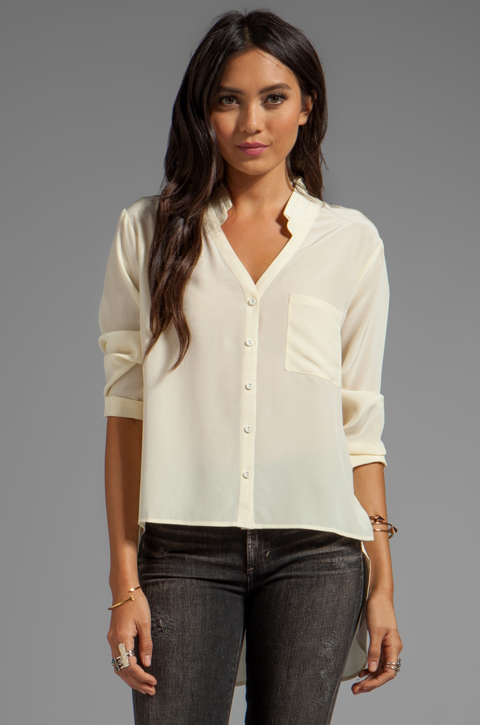Heather Silk Hi Low Blouse in Ivory