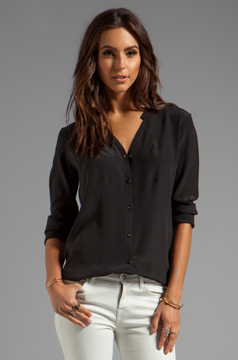 Heather Silk Button Front Blouse in Black