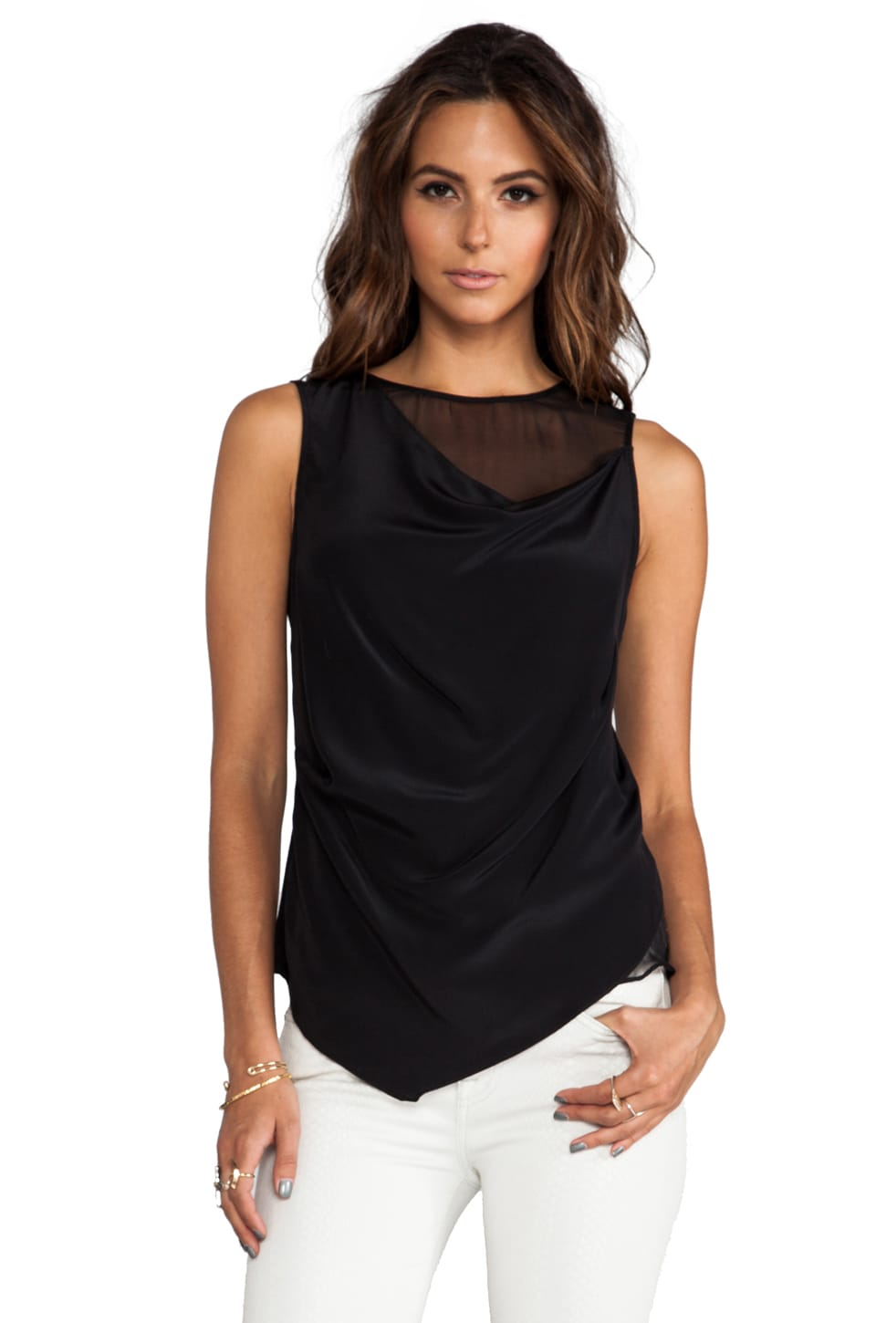 Heather Asymmetric Cowl Top in Black