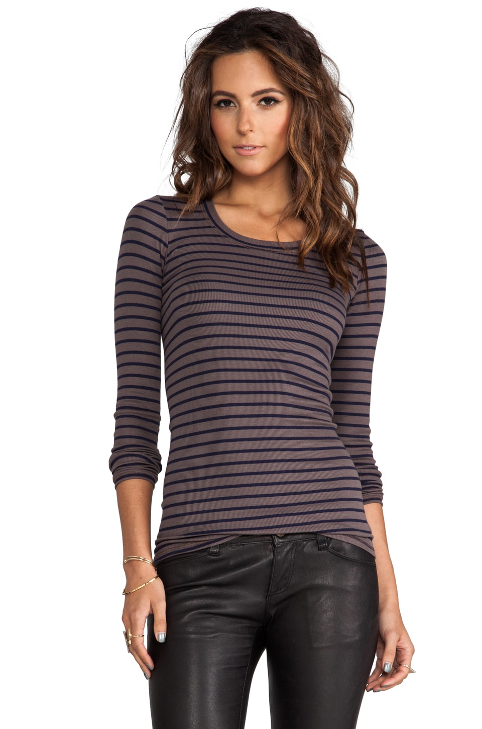 Heather Rib Stripe Long Sleeve Crew in Walnut/Navy
