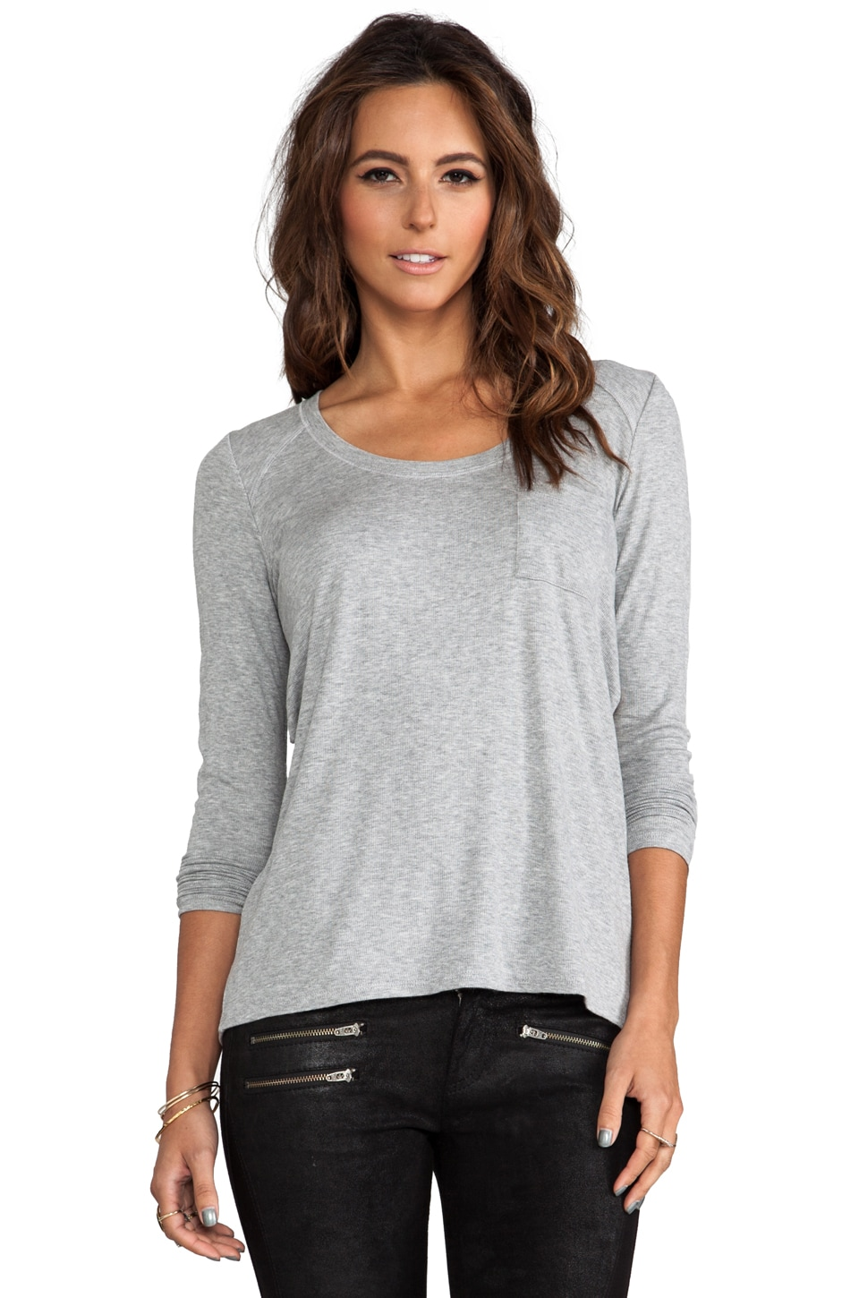 Heather Long Sleeve Cross Back Tee in Light Heather Grey