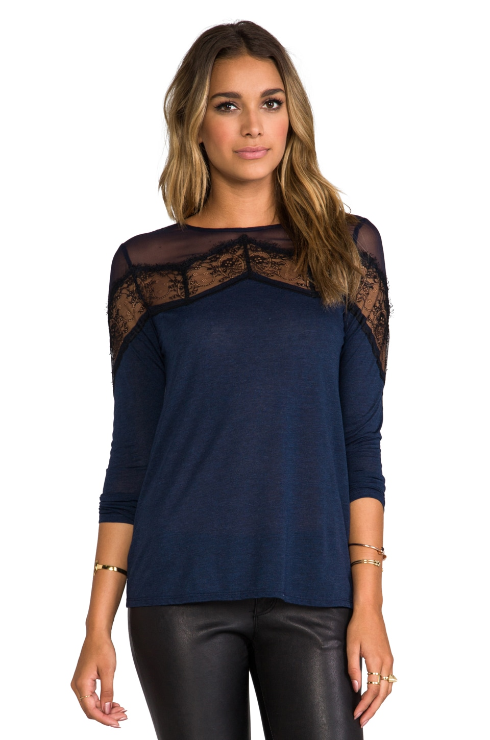 Heather Chevron Lace Top in Heather Midnight