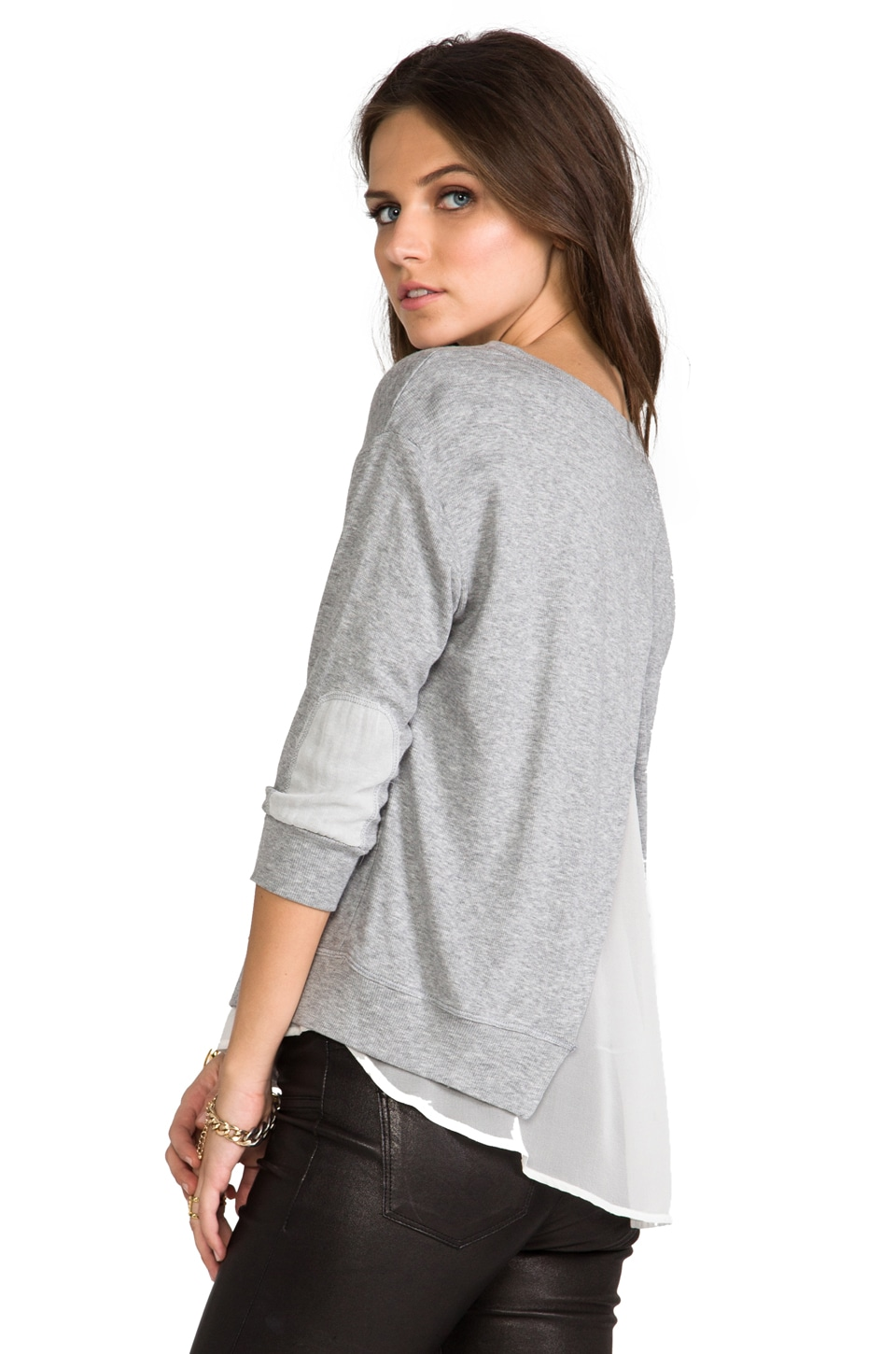 Heather Chiffon Grandpa Top in Light Heather Grey