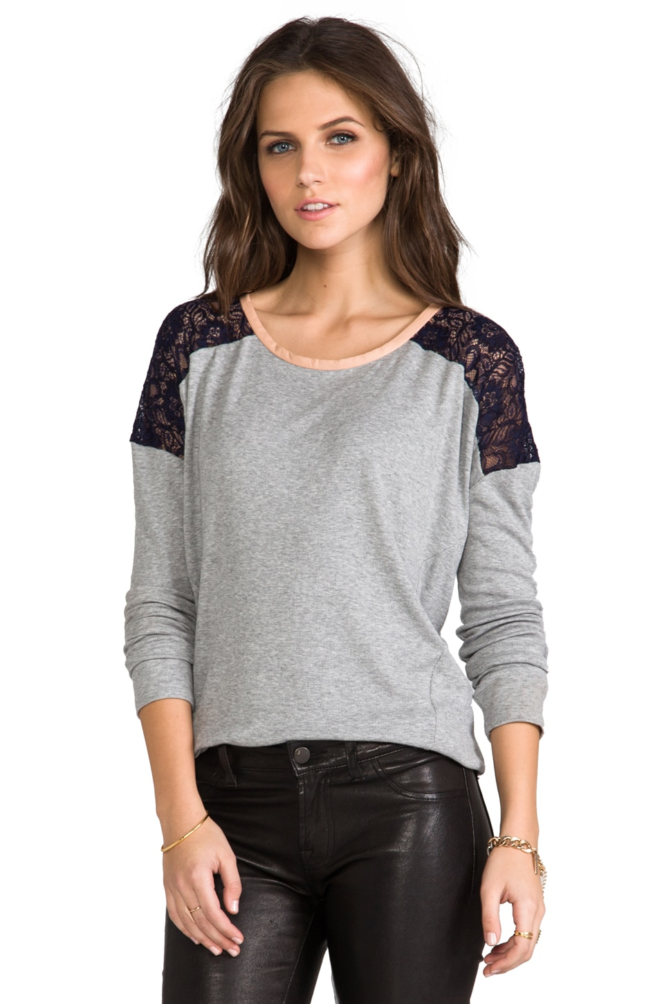 Heather Lace Shoulder Top in Light Heather Grey