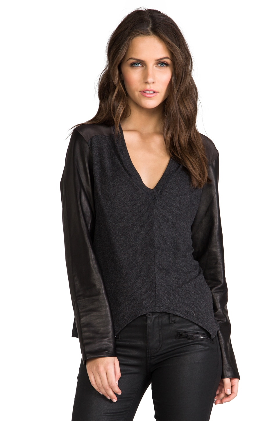Heather Leather Sleeve Top in Heather Black