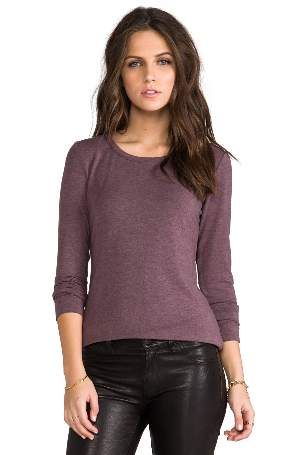 Heather Basic Long Sleeve Tee in Heather Espresso