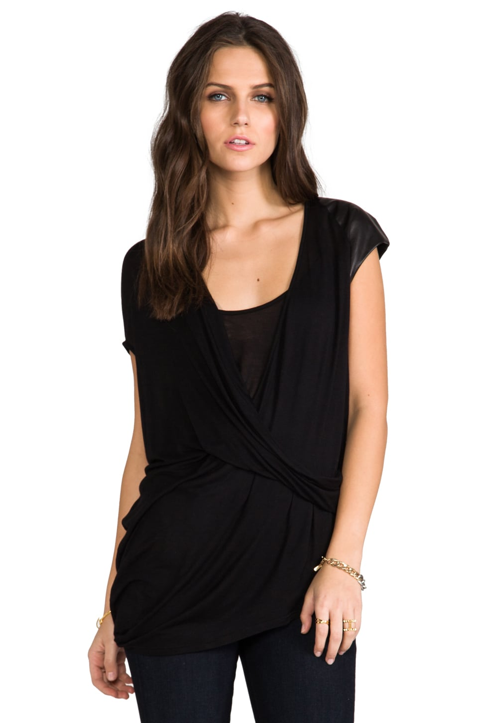 Heather Surplice Tuck Top in Black