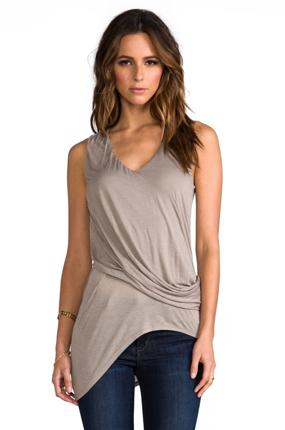 Heather Asymmetrical Surplice Top in Birch