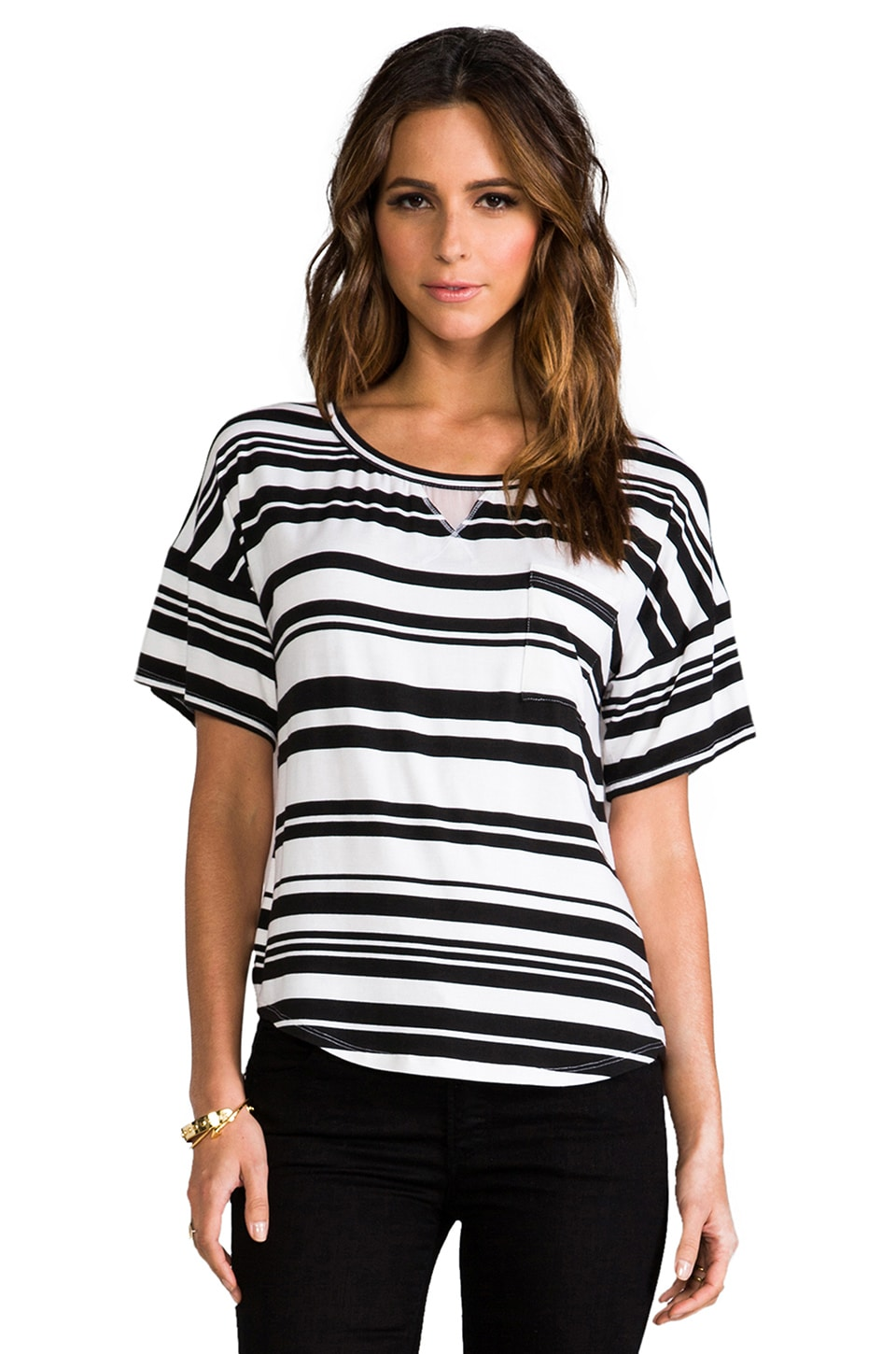 Heather Silk Back Stripe Tee in Black & White