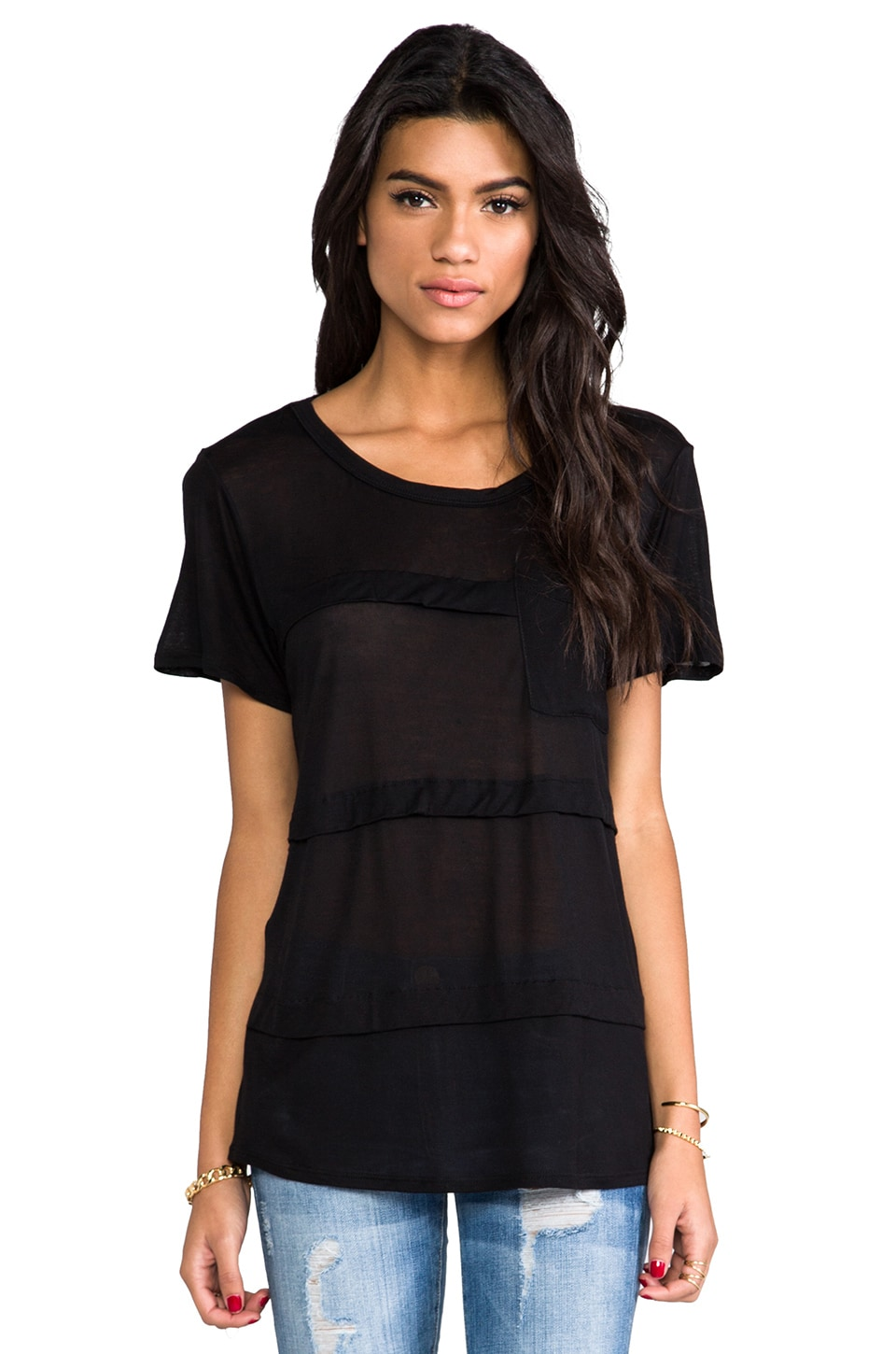 Heather Pleat Pocket Tee in Black