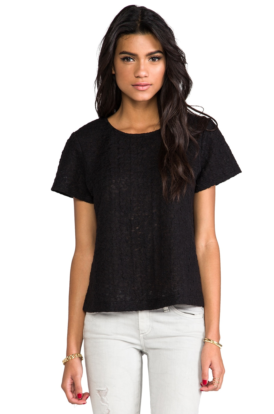 Heather Jacquard Sleeve Tee in Black