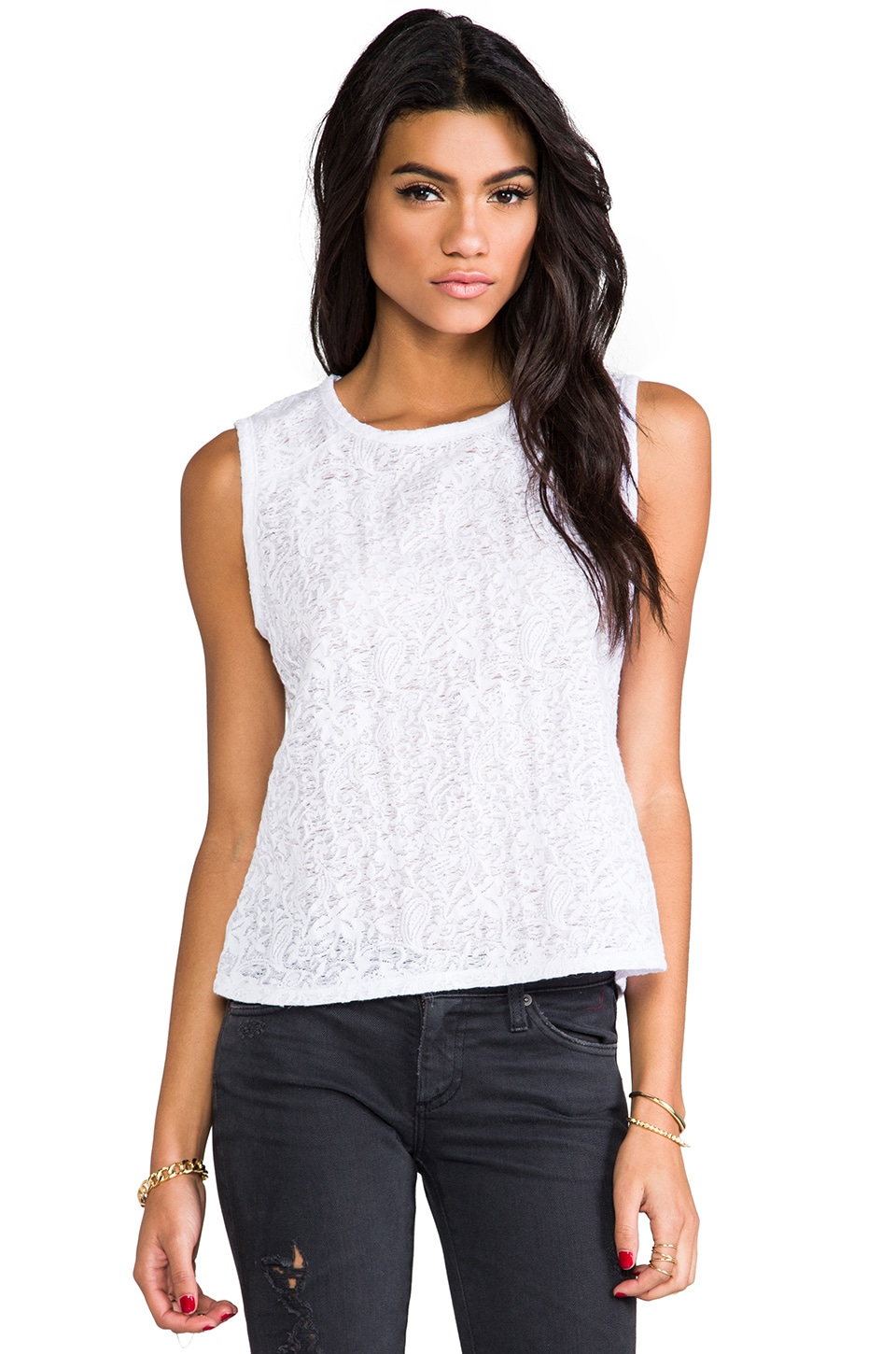 Heather Jacquard Shoulder Tank in White