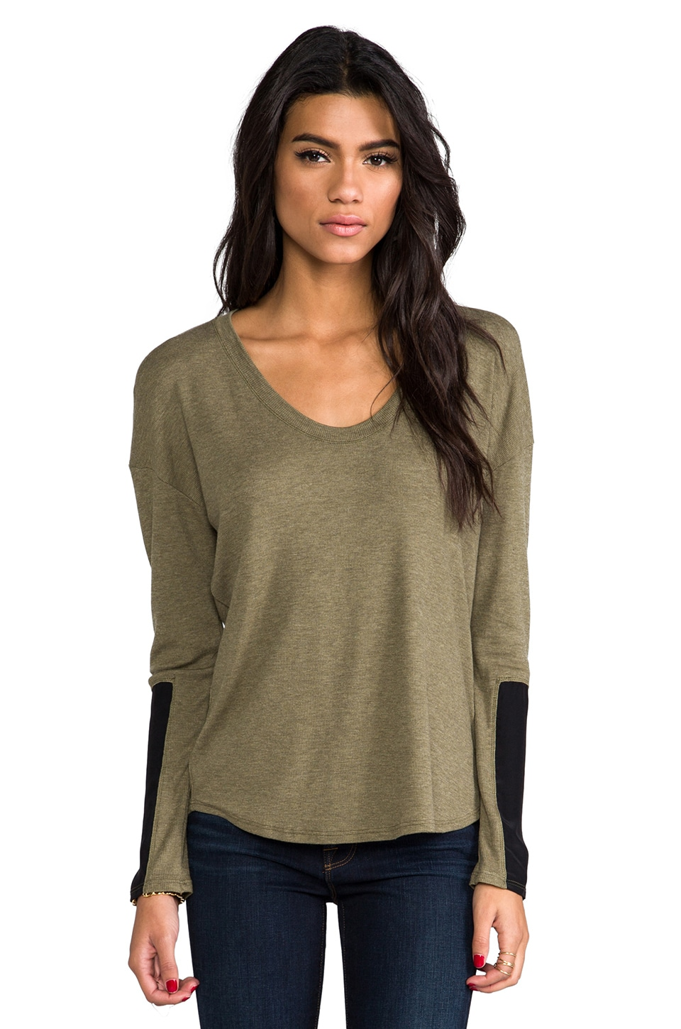 Heather Silk Block Sleeve Top in Heather Moss