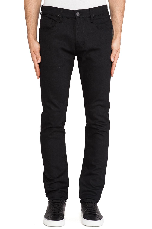 Hudson Jeans Sartor Slouch Skinny in Raw Black