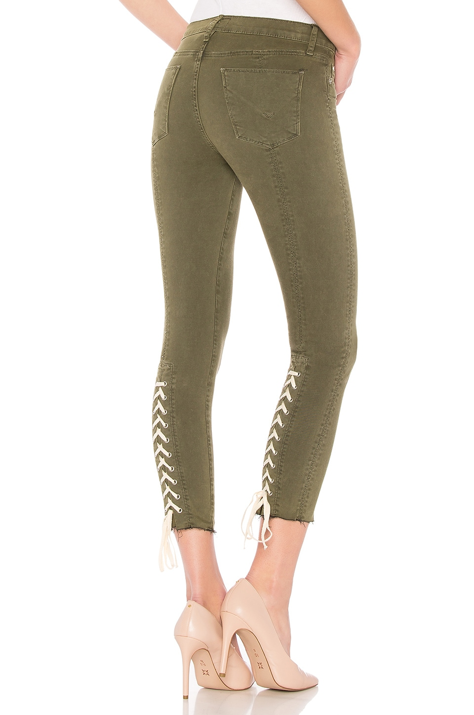 Nico Lace-Up Cropped Skinny Pants In Crushed Olive