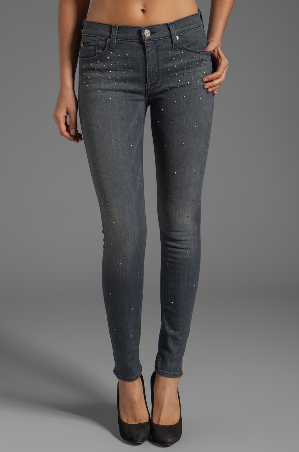 Hudson Jeans Nico Studded Skinny in Alloy