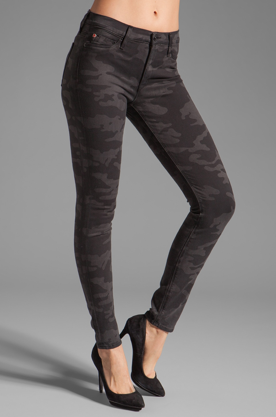Hudson Jeans Nico Midrise Super Skinny in Charcoal Camo