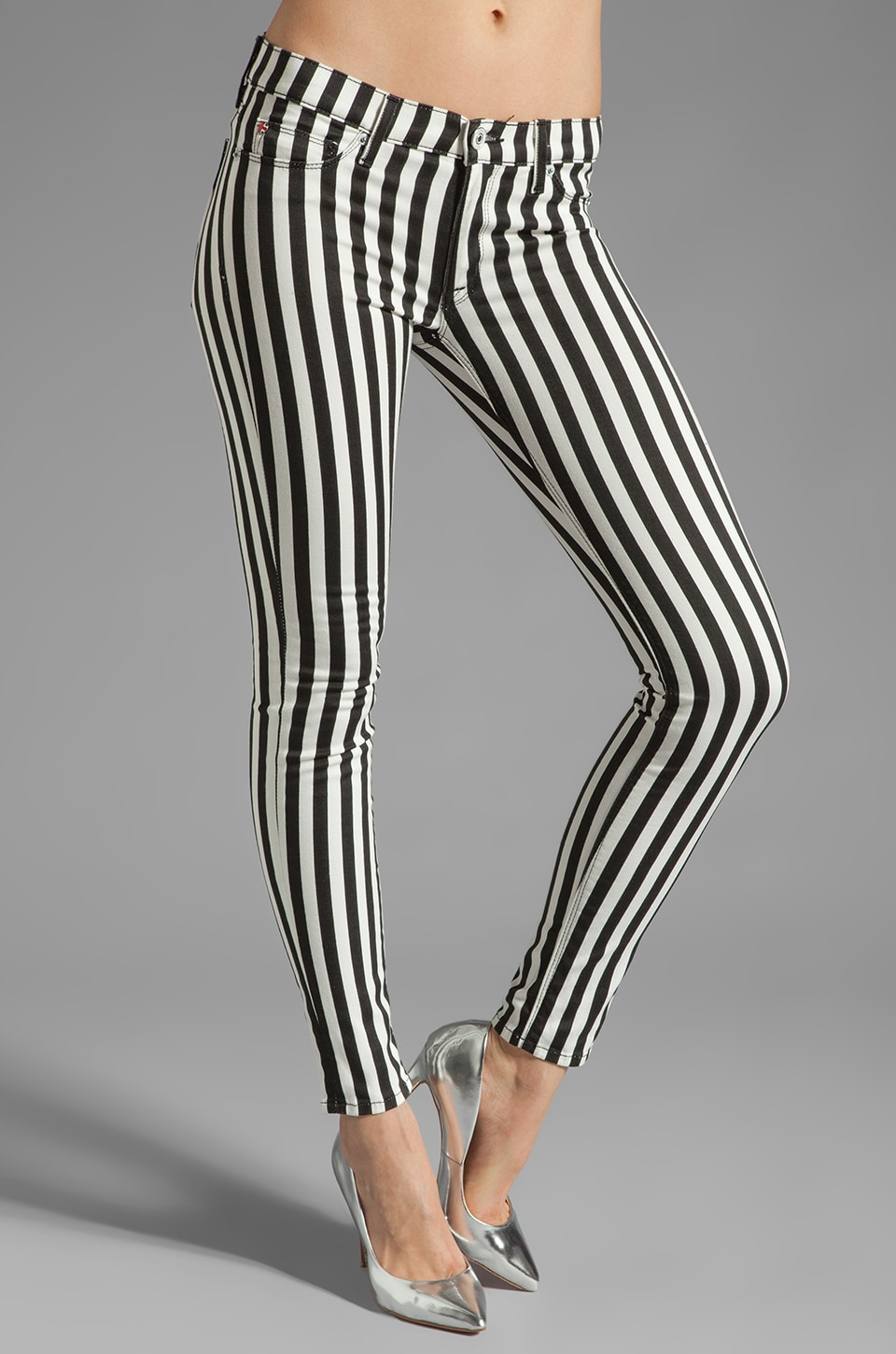 Hudson Jeans Krista Super Skinny in Black/White Stripe