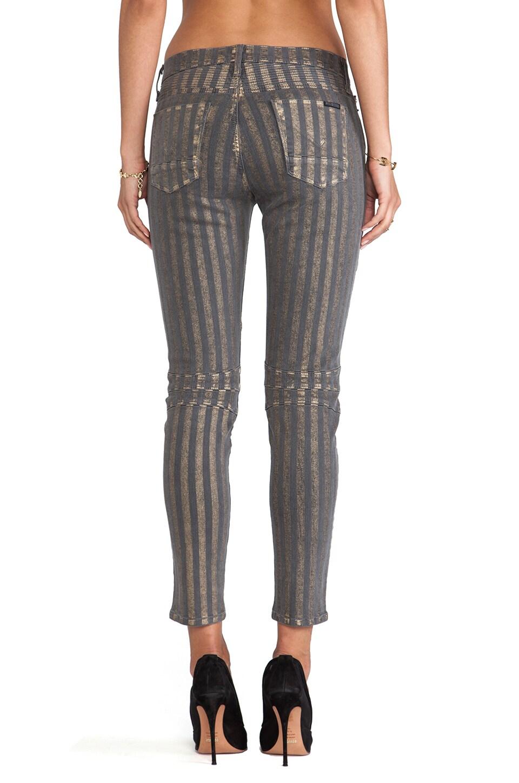 Hudson Jeans Moto Striped Skinny in Grey/Gold