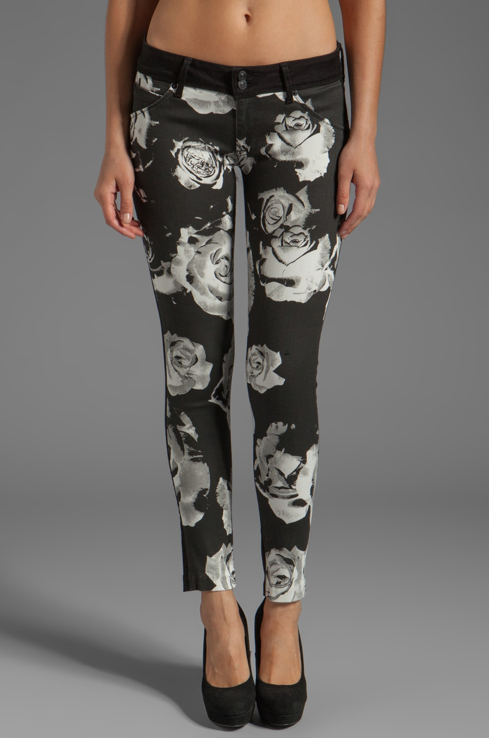 Hudson Jeans Collin Skinny in White/Black Floral