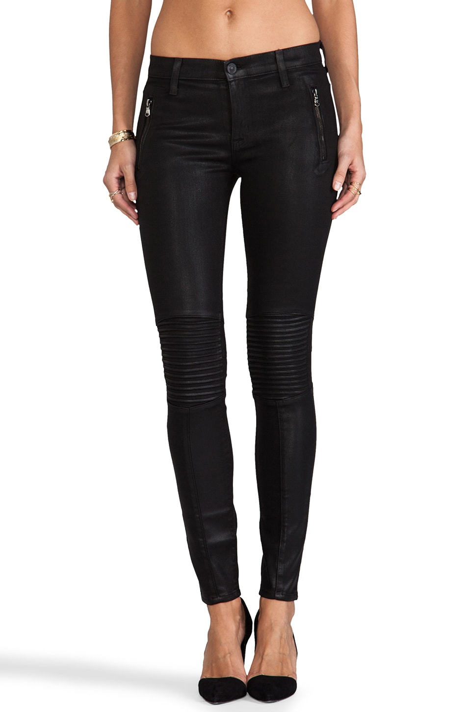 Hudson Jeans Stark Moto Skinny in Jet Black Coated
