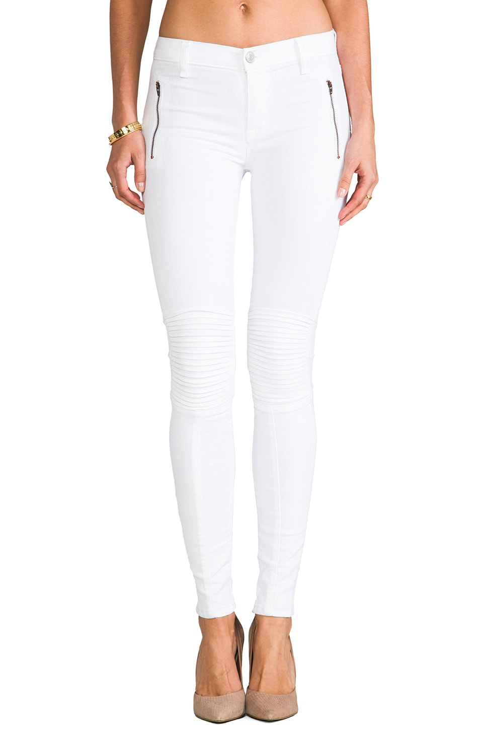 White Moto Jeans - Jeans Am