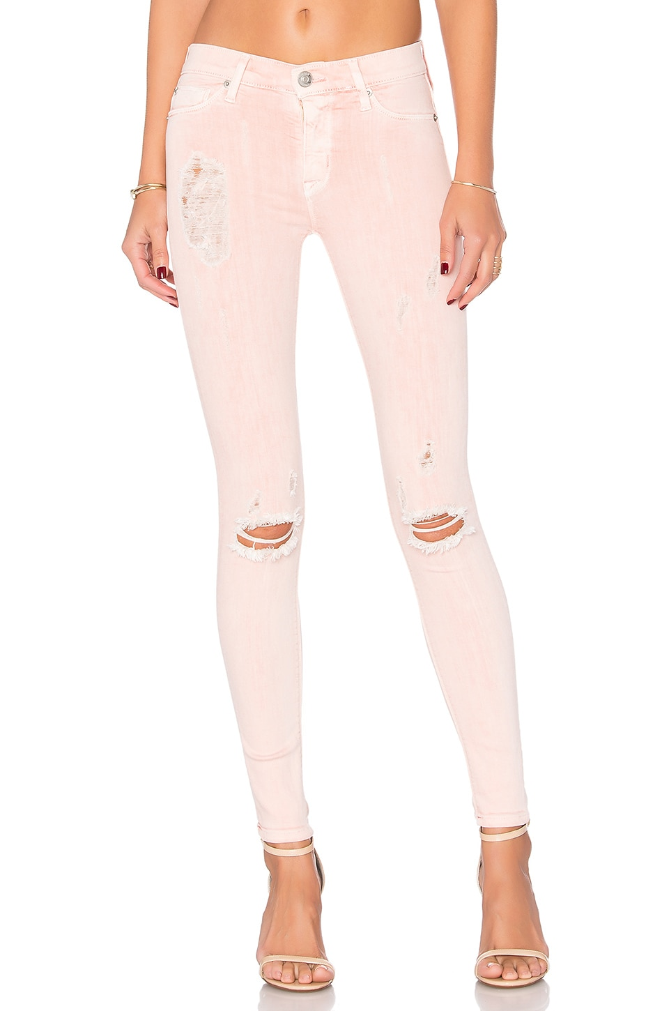 Hudson Jeans Nico Super Skinny in Sunkissed Pink Destructed