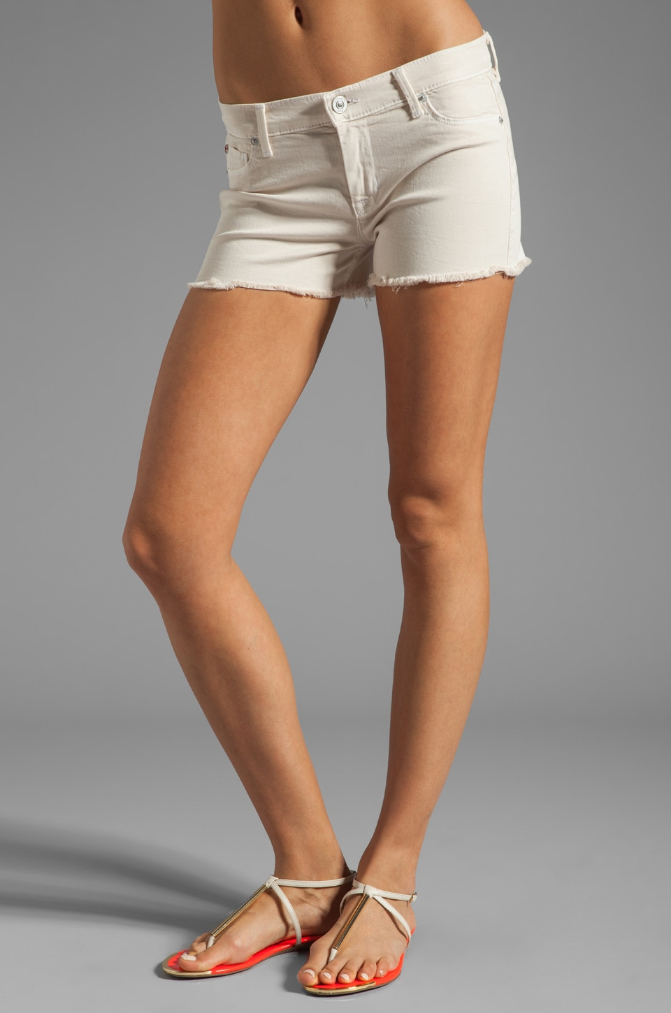 Hudson Jeans Amber Raw Edge Short in Shell