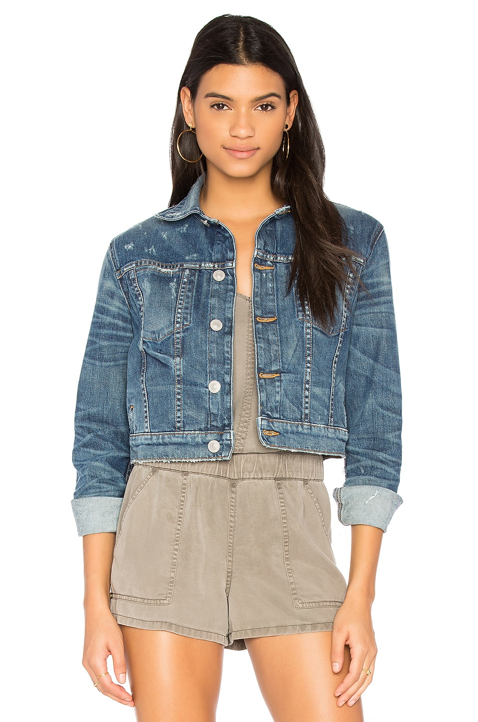 x REVOLVE Garrison Cropped Denim Jacket by Hudson Jeans
