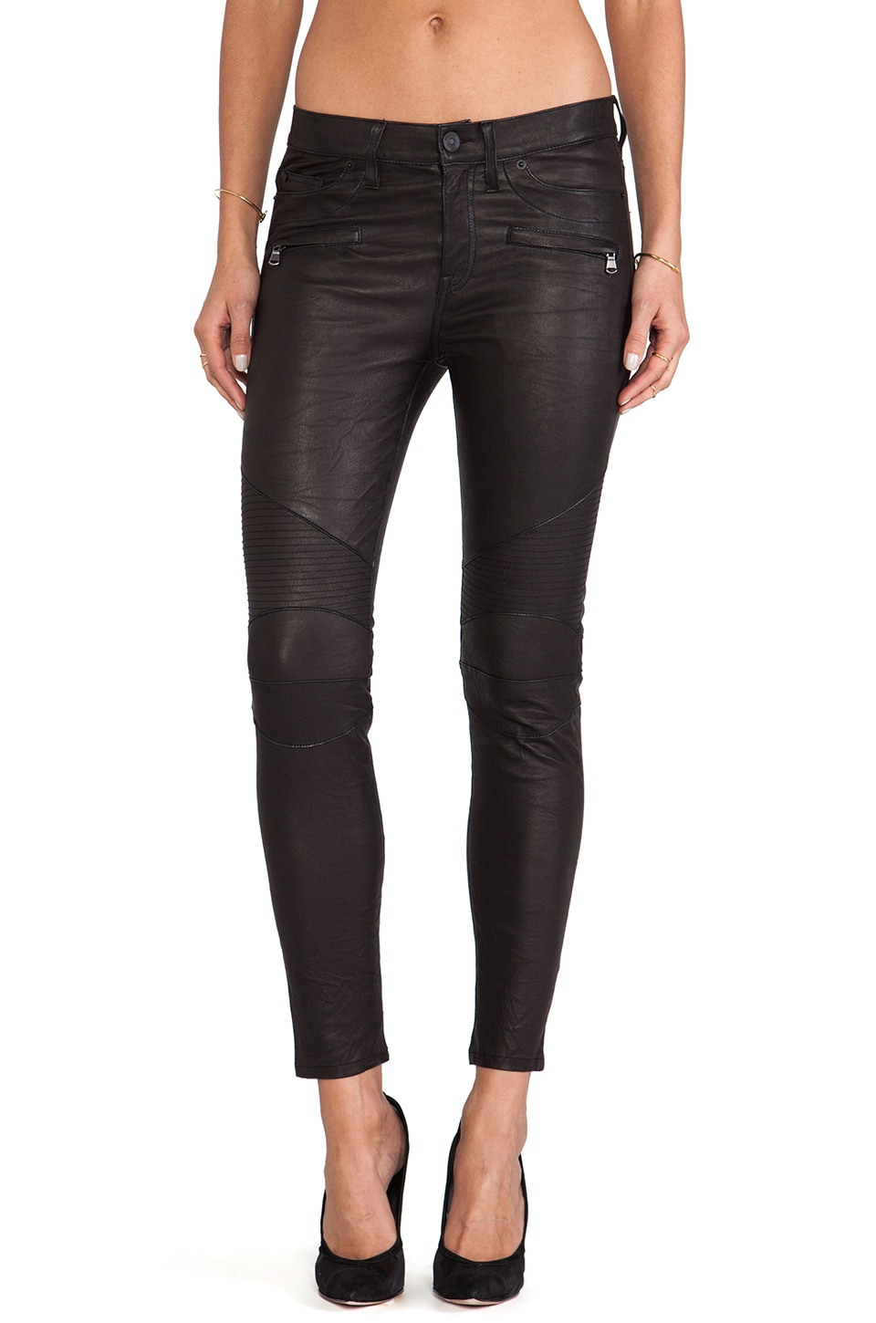 Hudson Jeans Shelby Leather Moto Super Skinny in Black