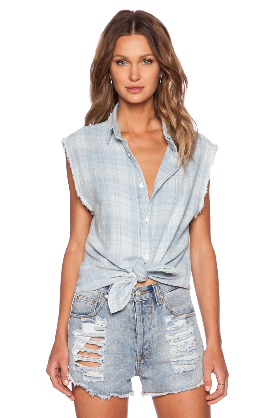 Hudson Jeans Sleeveless Button Up Shirt in West Coast