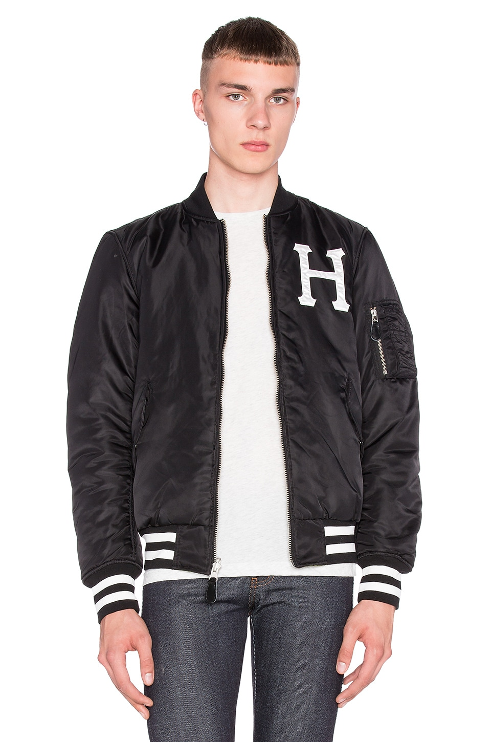 authentic quite nice good quality Huf MA-1 Reversible Bomber Jacket in Black & Camo   REVOLVE