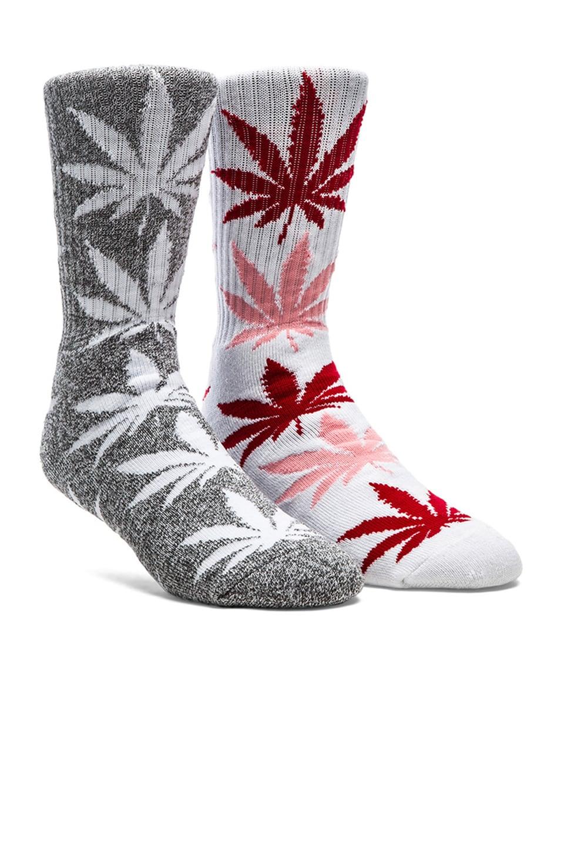 Huf Plantlife Crew Socks in Charcoal, Grey Heather, White, Huf Plantlife Crew Socks in White, Pink & Red