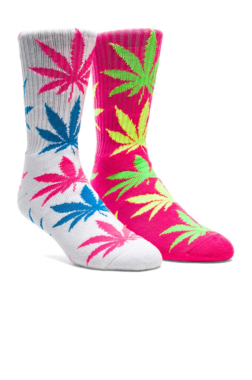 Huf Neon Plantlife Crew Socks in Pink, Huf Neon Plantlife Crew Socks in White