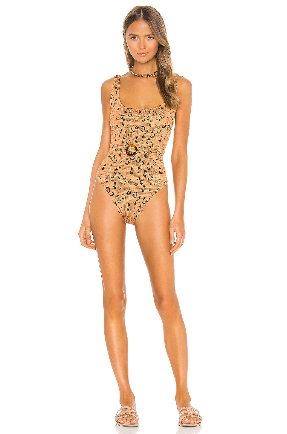 Hunza G Solitaire One Piece in Metallic Copper Leopard