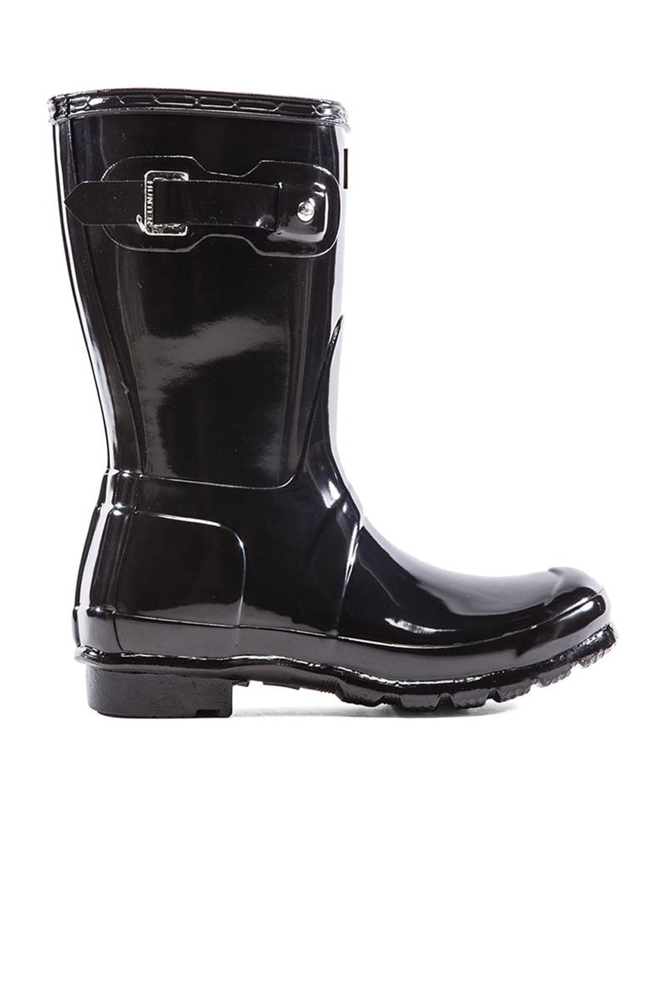 Hunter Original Short Gloss Boot in Black