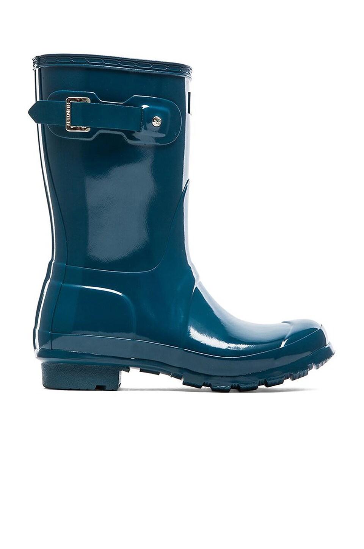 Hunter Original Short Gloss Rain Boot in Dusty Petrol