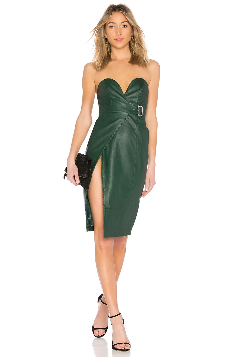 h:ours Doria Leather Dress - Forest